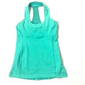 LuLulemon T back activewear top green padded bra